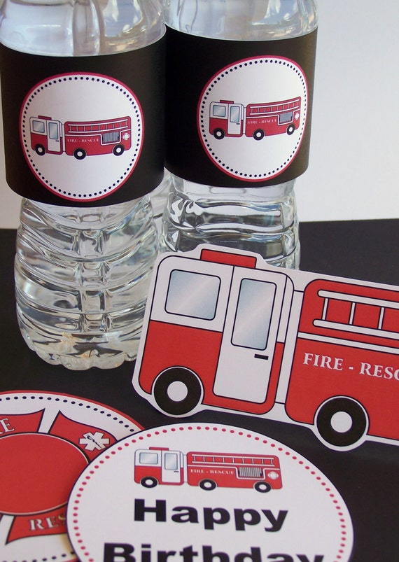The Fire House Collection - Printable Water Bottle Labels by The Birthday House