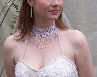 Victorian Lace Choker: White Lace with Moonstone, Pearls, and Crystals