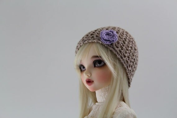 Tan Crochet hat for MSD BJD, 1/4 Dollfie, Minifee