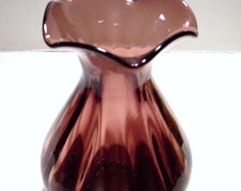 """Vintage Cranberry Purple Art Glass Vase 7"""""""