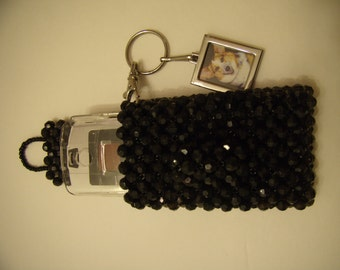 Black Beaded Mobile Phones Pouch | Custom-made | Beaded CellPhone Case | OOAK | Free Shipping | Made in USA By Gisèle Gomez