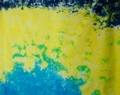 Hand Dyed Fabric Landscape in Bright Yellow Turquoise Navy Blue