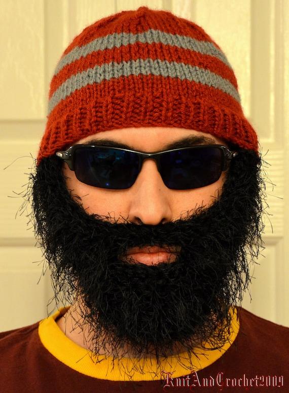 Men Scarf Knitting Patterns : Bearded Beanie Bearded Hat Bearded Cap Beard Beanie