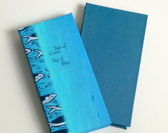 Sea of Green:Sky of Blue, nested accordion, handmade artist book with illustration