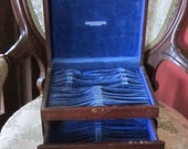 Vintage Silverware Storage Box Flatware Mahogany Wood Blue Velvet Lined Jewelry Box