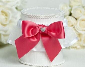 Crystal Heart Ribbon Garter with Custom Colors - 500300