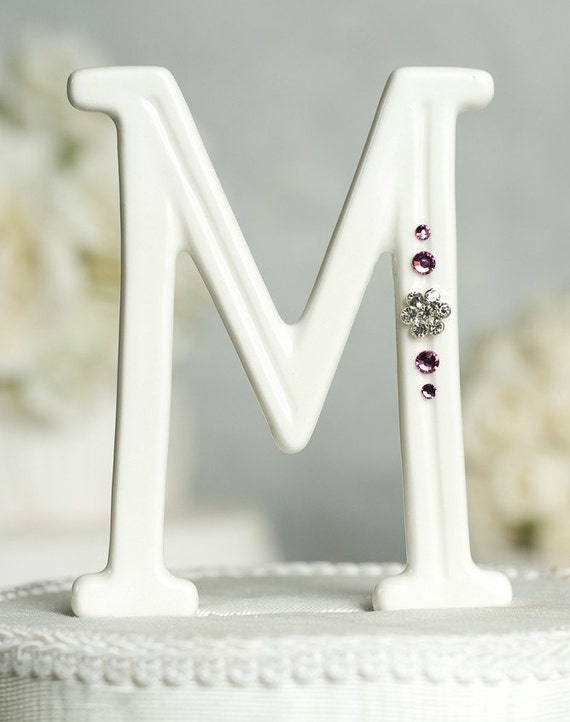 Crystal Florette Accented Porcelain Monogram Cake Topper with Custom Colors
