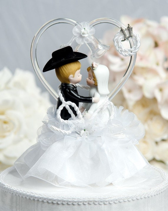 Wedding Cakes Toppers: Western Cowboy Lasso Wedding Cake Topper By