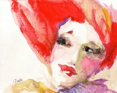 """Giclee Print of  Woman's Face from Watercolor Painting 10x8 """"Hair Day"""""""