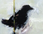 """Black Bird Oil Painting """"The Reed"""" on Canvas Original Oil"""