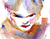 Fine Art Original Watercolor Painting Woman With Scarf in Orange Blue and Purple