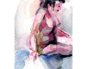 "Nude Original Figure of  Woman,  ""Pink Nude"" - Watercolor Painting in Pink,  Reds and Green"