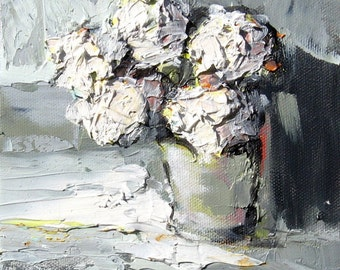 "Giclee Print ""Vanilla Ice Cream"" - 8"" x 8"" - White Flowers in a Vase from an Original Oil Painting"