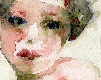 Best Seller, Giclee Watercolor Print, Pinks and Olive Green, 8x10, Dark Eyes, Abstract Portrait, Female Portrait, Figurative Art, Wall Art