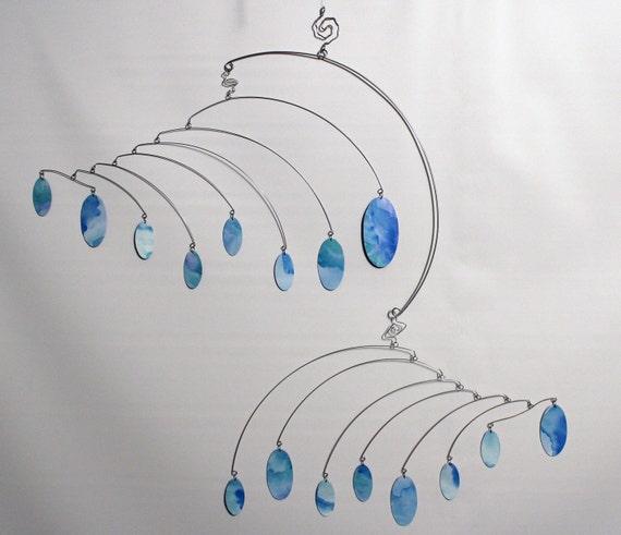Drops Art Mobile Large  - Hanging Kinetic Sculpture - Calder Inspired - 99427235