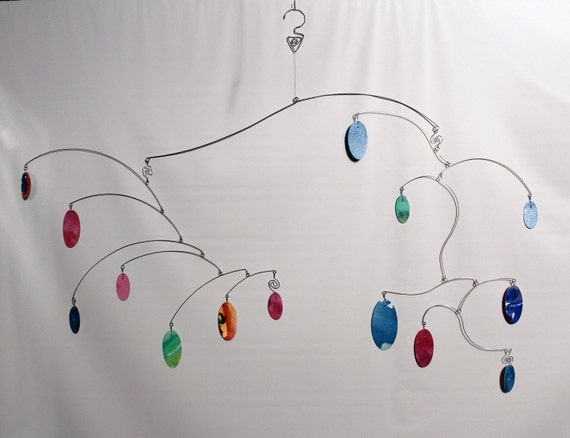 Large Hanging Art Mobile - Hand Painted Watercolor Kinetic Sculpture - 101720119