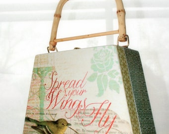Wooden Art Purse Box - Spread You Wings and Fly - OOAK - Unique Gift - Pale Green Yellow Gray Salmon Bird Keepsake Present