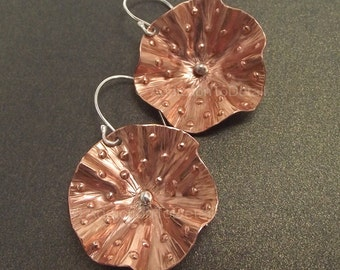 Hammered Copper Earrings, Forged Texture Earrings, Copper Artisan Earrings, Copper Dangle, Copper Jewelry Gift, Copper Flowers