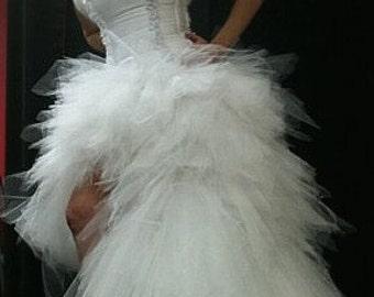 STEAMPUNK WEDDING, Wedding Dress, Hi Lo Wedding Gown, REMOVABLE Train Gown, High-Low Gown, Fairy Wedding Dress, Sexy Wedding Dress