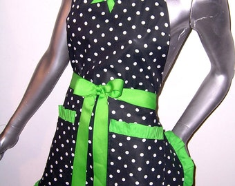 LIME GREEN, Polka-dots, Pin-up, Retro,Lime Green, Rockabilly, Pick your Color, Scotch Guarded