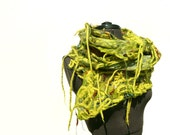 RESERVED Chunky felted scarf felted fish net art scarf Green Olive