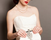 Bridal Clutch with Crystal Brooch and Ivory Quatrefoil Lace 8-inch QUATREFOIL