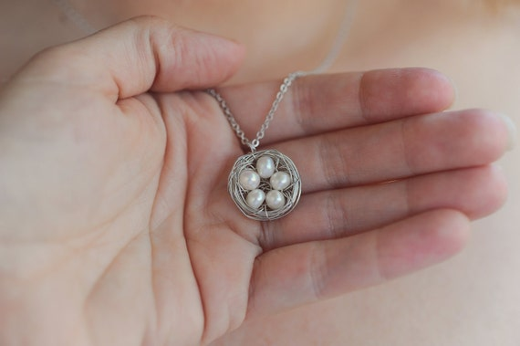 Perfect Mom or Grandma Gift Custom Birds Nest Necklace