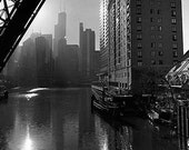 Chicago Skyline from Kinzie Street Bridge: Black and White Photo