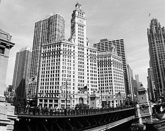 Chicago, Wrigley Building and Tribune Tower: Black and White Photo