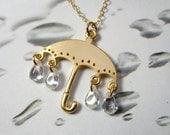 Golden umbrella and rain drops necklace - adorable umbrella charm and cubic zirconia drops - rain shower