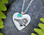 My little chickadee heart & birthstone necklace - handmade fine silver charm with bird stamp, sterling silver chain - free shipping USA
