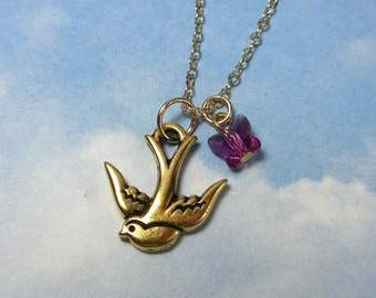 Golden sparrow & pink butterfly necklace -flying bird and crystal butterfly charms on 14k gold filled chain - free shipping USA