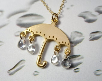 Golden umbrella and rain drops necklace - adorable umbrella charm and cubic zirconia drops - rain shower