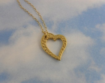 Heart of Gold necklace - 22k gold plated heart charm, delicate 14k gold filled chain - for love friendship romance, free shipping USA