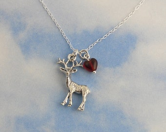 Deer Heart necklace- sterling silver stag and red glass heart on sterling chain- for those who are dear to you - free shipping USA
