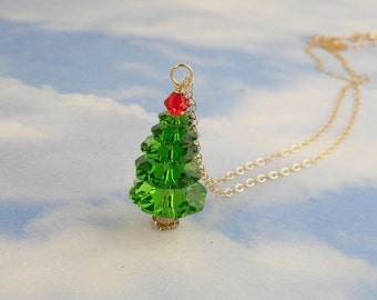 Crystal Christmas tree 14k gold filled necklace - bright fern green and bright red Swarovski crystals - free shipping in USA