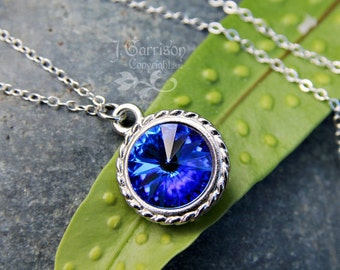 Sapphire Swarovski Crystal Solitaire Necklace - Deep blue rivoli, sterling silver chain - Free shipping USA