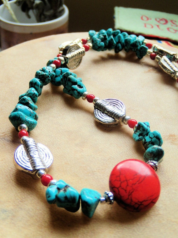 Turquoise Chip Red Howlite Coral Vintage Silver Journey Necklace