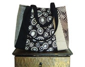 everyday RUM & COLA /  Medium Tote / black, white, cream, tan satin, linen, denim fabric by: jennjohn handbags