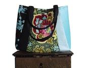sale coupon code everyday DARJEELING TEA / Medium Tote / black denim, turquoise blue satin : by jennjohn