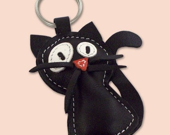 Handmade Black Cat Leather Animal Keychain - FREE shipping worldwide - Balck Cat Bag Charm
