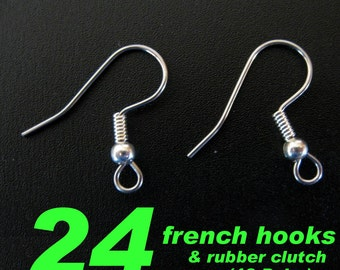 Combo - 24 Surgical Steel French Hooks with 24 Rubber Earwire Clutch
