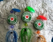 "Mens Gift Idea- 3 Pk of the ""Original Bottlecap Spinning Fishing Lure""- Heineken Beer Caps- Dad Brother Boyfriend Gift Father Best Friend"