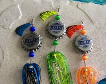 Fishing Lure Gift for Men Fathers Day Gift for Husband Recycled Bottle Cap 3pk Fishing Lure Gift Groomsmen Gift for Boyfriend Gift for Him