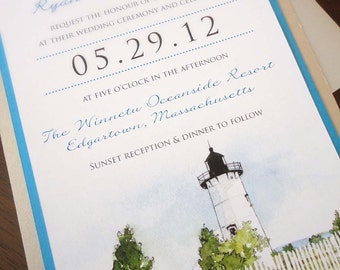SAMPLE - Martha's Vineyard Watercolor Vellum Wrapped Wedding Invitation