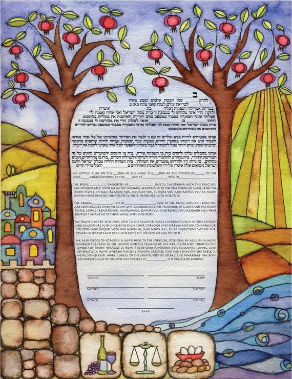 Jewish Wedding Ketubah Abundance Ketub...