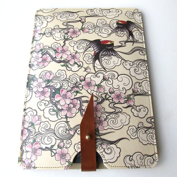 Leather Kindle Case - Cherry Blossom and Swallows