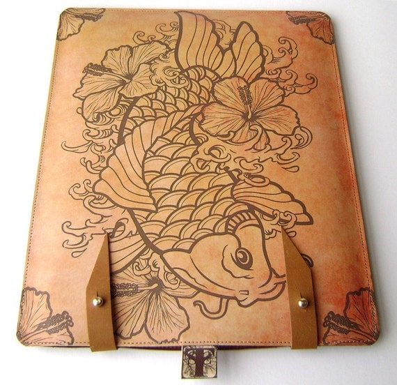 Leather iPad case- Tattoo Koi and Hibiscus Flowers