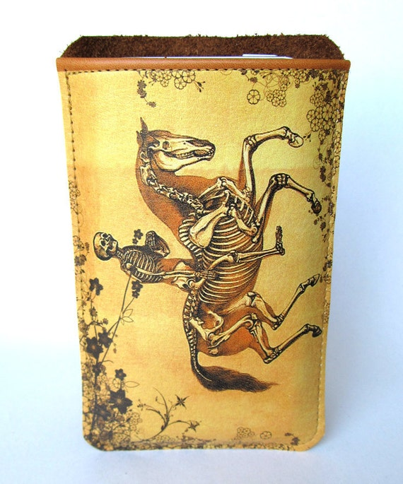 Leather ipod, itouch, iphone cover - Skeleton rider
