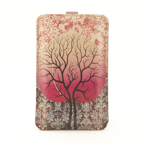 Leather iPhone/iTouch/HTC (Desire/Mozart) Case - Peach Tree